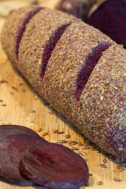 Raw, Vegan Beetroot Bread Roll