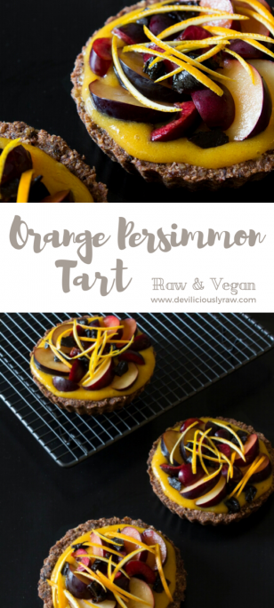 #raw #vegan Orange Persimmon Tart | Deviliciously Raw