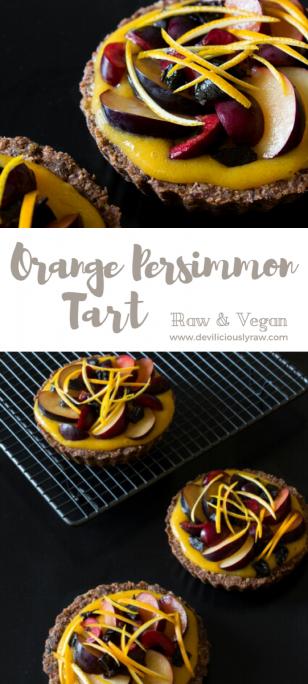 #raw #vegan Orange Persimmon Tart | Deviliciously Raw