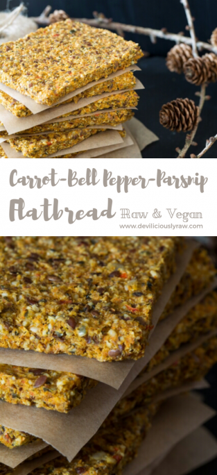 #raw #vegan Carrot-Bell Pepper-Parsnip Flatbread | Deviliciously Raw