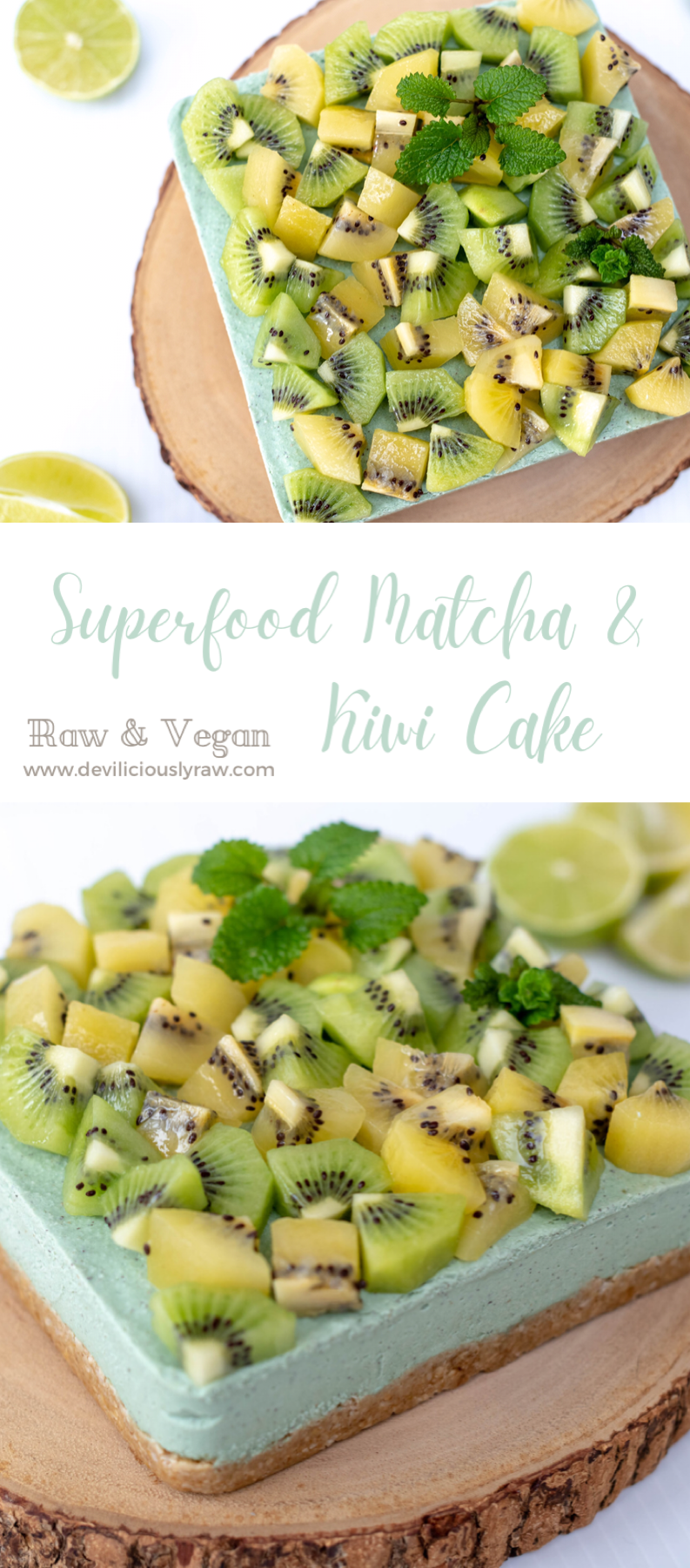 Raw Superfood Matcha & Kiwi Cake with Ginger Crust